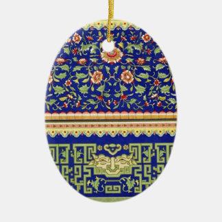 Arte ornamental chino del vintage adorno ovalado de cerámica