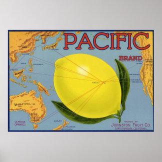 Arte pacífico de la etiqueta del cajón de la fruta impresiones