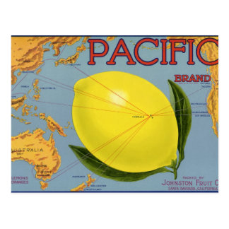 Arte pacífico de la etiqueta del cajón de la fruta postal