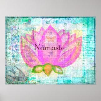 Arte pacífico ROSADO de Namaste LOTUS Póster