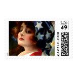 Arte patriótico de la postal de la señora el 4 de franqueo