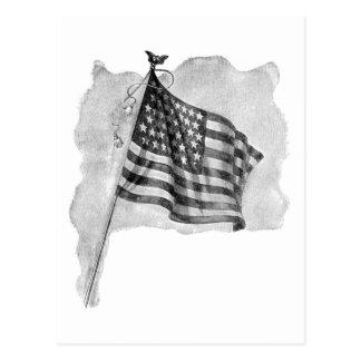 Arte patriótico del vintage de la bandera de los E Tarjeta Postal