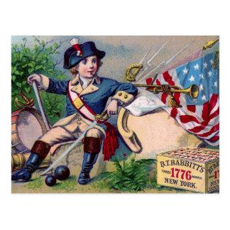 Arte patriótico del vintage de la bandera del tarjeta postal