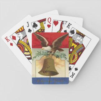 arte patriótico del vintage de la campana de baraja de póquer