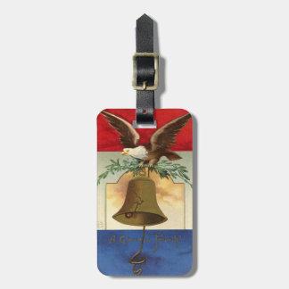 arte patriótico del vintage de la campana de etiquetas para maletas