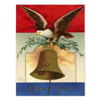 arte patriótico del vintage de la campana de tarjeta postal