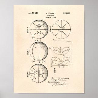 Arte Peper viejo de la patente del baloncesto 1929 Póster