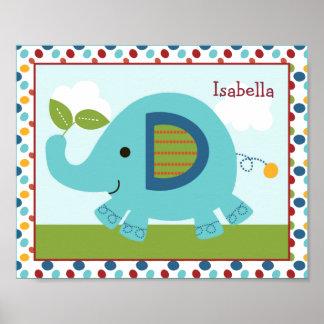 Arte personalizado elefante animal del cuarto de n poster