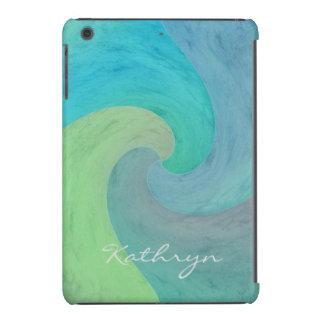 Arte personalizado verde de la turquesa de la onda funda de iPad mini