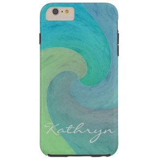 Arte personalizado verde de la turquesa de la onda funda para iPhone 6 plus tough