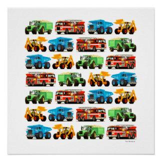Arte picador del tractor del Firetruck del camión Perfect Poster
