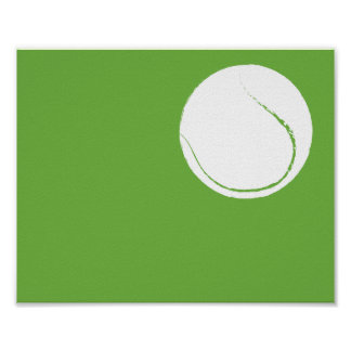 Arte pintado a mano moderno de la pelota de tenis póster