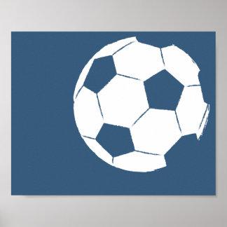 Arte pintado a mano moderno del balón de fútbol - póster