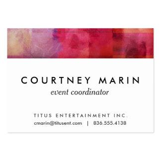 Arte pintado acuarela abstracta púrpura roja tarjetas de visita grandes