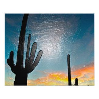 """Arte plástico 3d de la puesta del sol del cactus folleto 4.5"""" x 5.6"""""""