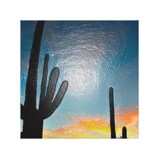 Arte plástico 3d de la puesta del sol del cactus impresion de lienzo
