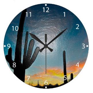 Arte plástico 3d de la puesta del sol del cactus reloj redondo grande
