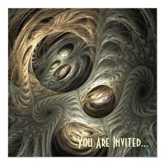 Arte plateado del fractal del túnel del oro invitación