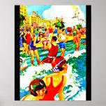 Arte-Playa del viaje del Poster-Vintage