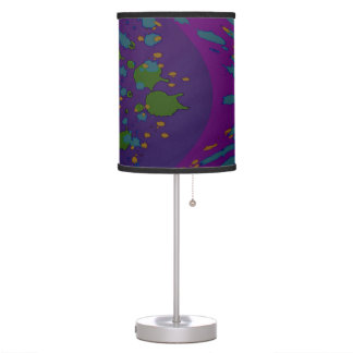 Arte pop abstracto verde púrpura lámpara de mesilla de noche