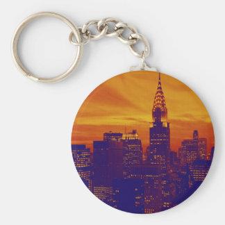 Arte pop anaranjado azul New York City Llavero Redondo Tipo Pin