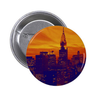 Arte pop anaranjado azul New York City Pin Redondo De 2 Pulgadas