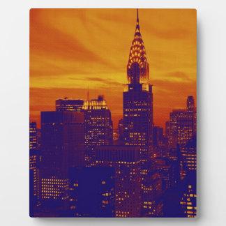 Arte pop anaranjado azul New York City Placas Para Mostrar