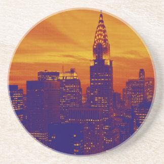 Arte pop anaranjado azul New York City Posavasos Cerveza