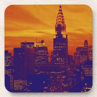 Arte pop anaranjado azul New York City Posavasos De Bebida
