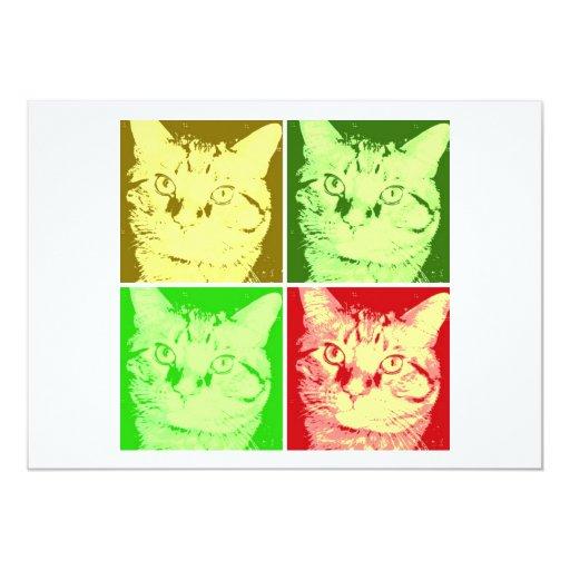 """Arte pop anaranjado del gato de Tabby Invitación 5"""" X 7"""""""
