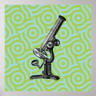Arte pop antiguo del microscopio póster