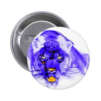Arte pop azul de Digitaces Jaguar Pin Redondo De 2 Pulgadas