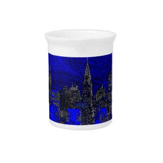 Arte pop azul New York City Jarra Para Bebida