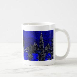 Arte pop azul New York City Tazas De Café
