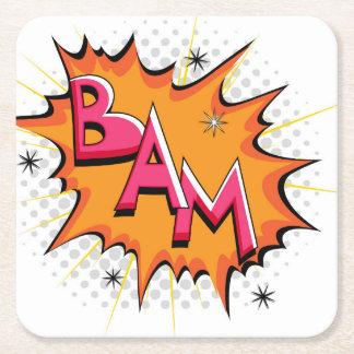 ¡Arte pop Bam cómico! Posavasos De Cartón Cuadrado