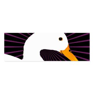 Arte pop blanco del pato tarjetas de visita