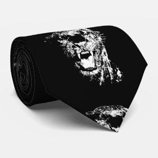 Arte pop blanco negro de Jaguar Corbata Personalizada
