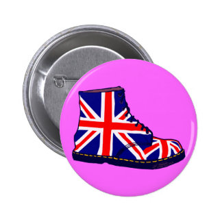 Arte pop británico de la bota de la mirada retra pin redondo de 2 pulgadas