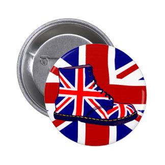 Arte pop británico de la bota de la mirada retra U Pin Redondo De 2 Pulgadas