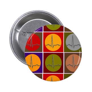 Arte pop cardiaco de QRS Pin Redondo De 2 Pulgadas