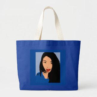 Arte pop - chica divertido hermoso - azul bolsa tela grande