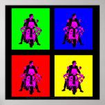 Arte pop coloreado del jinete 2010 de la vespa posters