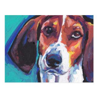 arte pop colorido brillante treeing del coonhound postales