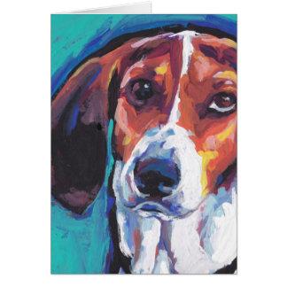arte pop colorido brillante treeing del coonhound tarjeta de felicitación