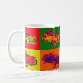 Arte pop colorido del coche antiguo del magnesio taza de café