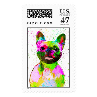 Arte pop colorido del dogo francés estampilla