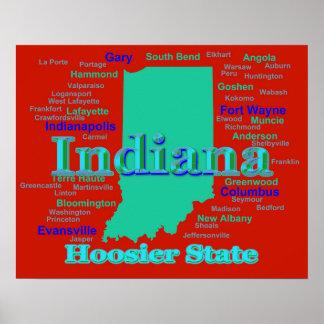 Arte pop colorido del mapa del orgullo del estado póster