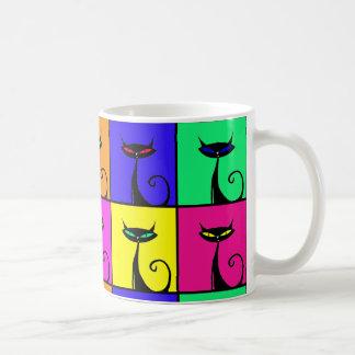 Arte pop colorido fresco del gato del gatito taza de café