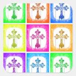 Arte pop cristiano de las cruces coloridas colcomania cuadrada