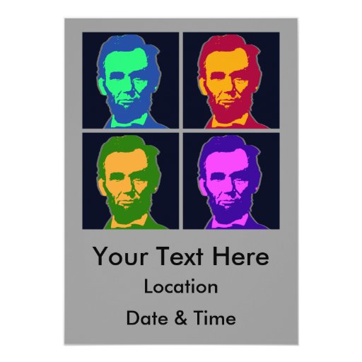 """Arte pop cuatro Abraham Lincolns Invitación 5"""" X 7"""""""